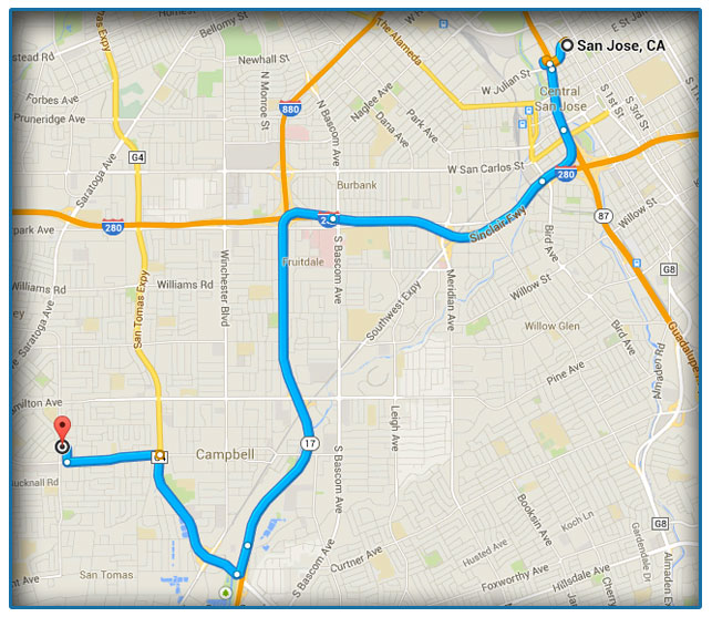 San Jose, CA Title Loan Map