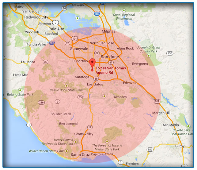 Bay Area Title Loans Service Area Map