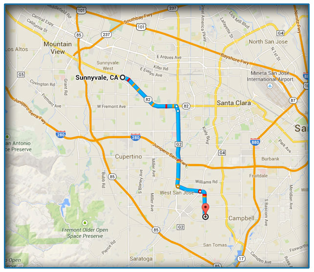 Sunnyvale, CA Car Title Loans Map
